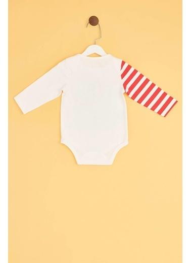 BG Baby Erkek Bebek Beyaz Body Ekru